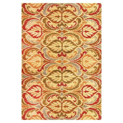 tapestry rugs kas rugs tapestry leaf gold 2 ft 7 in x 4 ft 1 in area rug lif546627x41 the home depot
