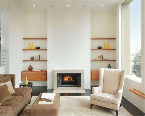 floating shelves beside fireplace houzz