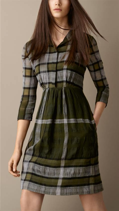 Check Shirt Dress lyst burberry check shirt dress in green