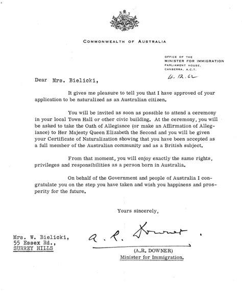 Recommendation Letter Citizenship Sle 187 Letter Of Citizenship Australia