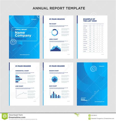 annual report template with cover design and infographic