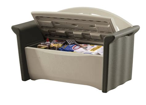 rubbermaid 4 cu ft patio storage bench outdoor deck box w