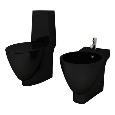 wc bidet set vidaxl co uk black ceramic toilet bidet set