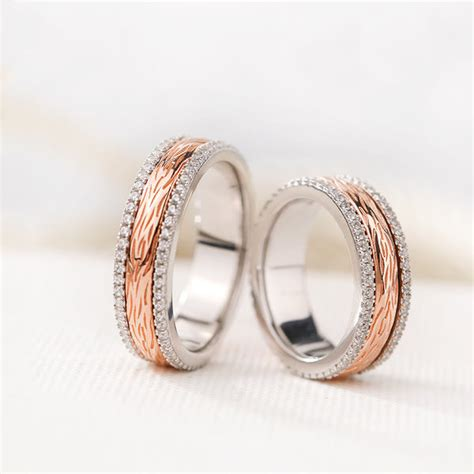 Silver Age Couples Rings, Rose Gold Spinner Wedding Bands