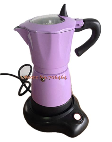 Aliexpress.com : Buy New fashion Red/Orange/Purple/Yellow aluminum electric Stovetop coffee