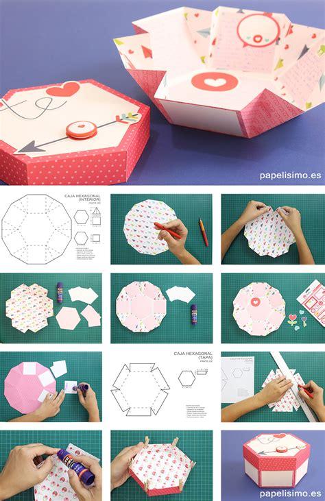 Scrapbook Exploding Box carta de explosiva exploding box hexagonal con