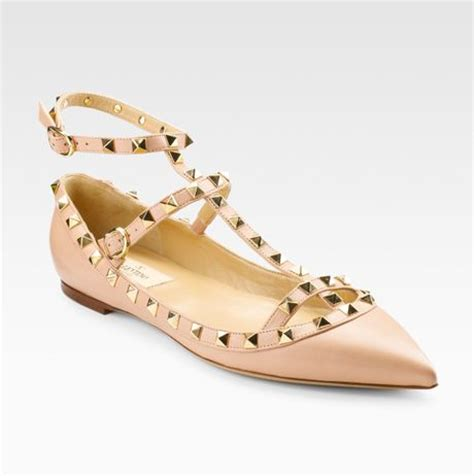 valentino flat studded shoes valentino studded flat sandals in pink lyst
