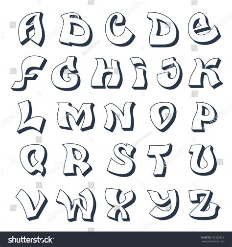 font design a to z graffiti alphabet cool street style font design white