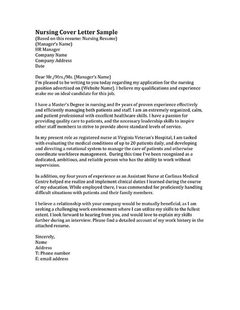 Cover Letter Exles For Nursing Position Nursing Cover Letter Sles Resume Genius