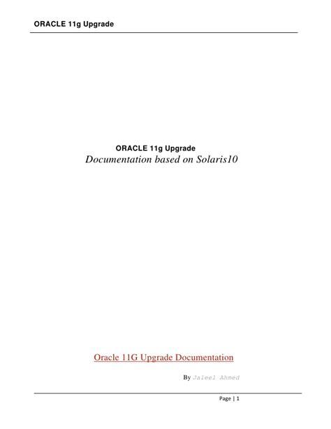 Oracle 11g Documentation