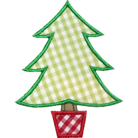 potted christmas tree applique design