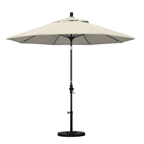 Black Patio Umbrellas California Umbrella 9 Ft Fiberglass Collar Tilt Patio Umbrella In Black Olefin Gscuf908117 F32