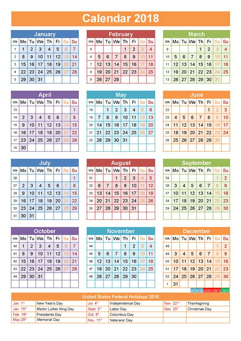 2018 acid calendar year in a box 2018 calendar with holidays printable yearly calendar