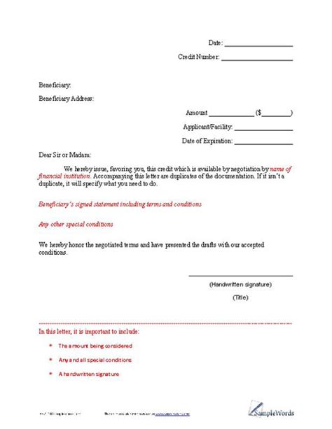 Letter Of Credit Format Letter Of Credit Exle Financial Institutions And Template