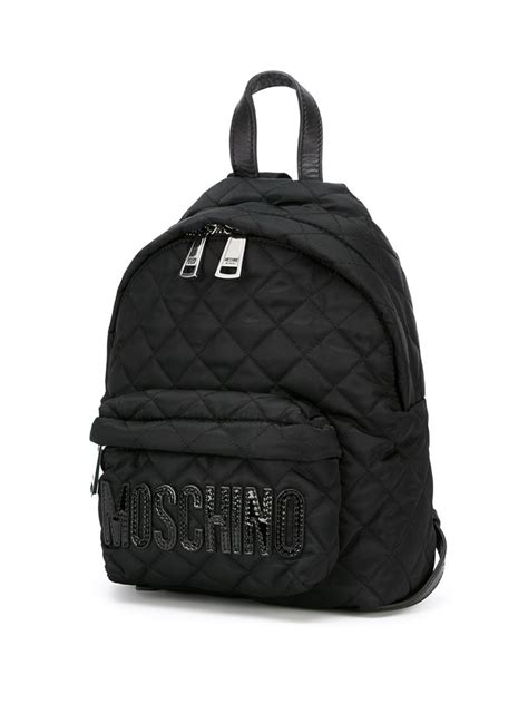 moschino small quilted backpack in black lyst