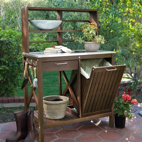 outdoor potting bench with storage diy stone benches diy mother earth news outdoor bench