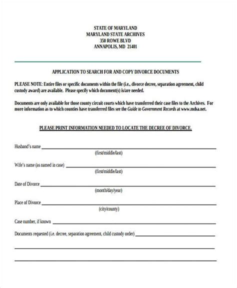 separation agreement templates 7 separation agreement form sles free sle
