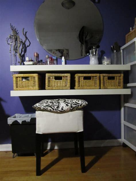 Vanity Shelves Bedroom by Diy Vanity Table Using Floating Shelves Baskets Diy