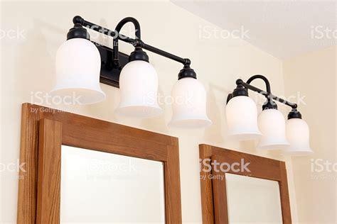 medicine cabinet lights above lights above bathroom medicine cabinet mirror stock photo