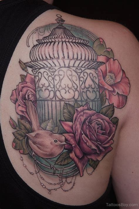 bird and rose tattoo cage tattoos designs pictures