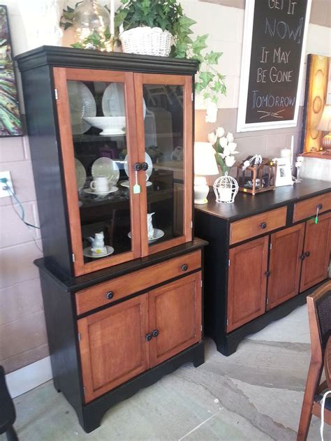 Repurposed China Cabinet and buffet in black Satin Paint