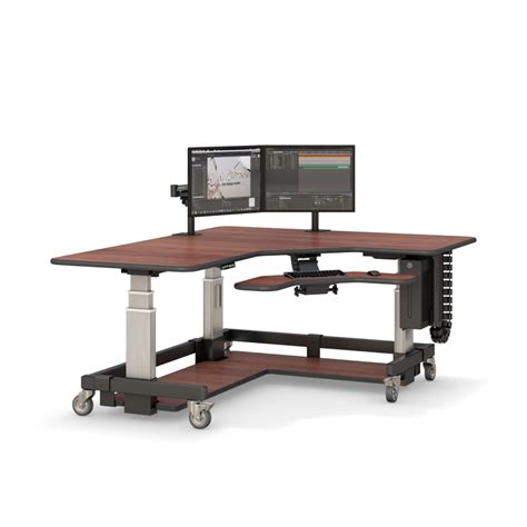 sit and stand l shaped corner computer desk