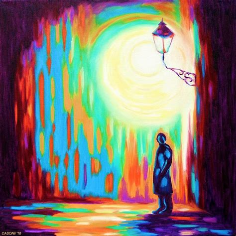 Ibolya night light street painting by casoni ibolya