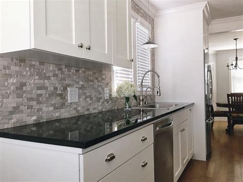 Grey Kitchen Cabinets With Black Countertops Builddirect Granite Countertops Black Galaxy Kitchen