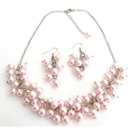 Sogt Pearl Sett soft pink pearl chunky beaded necklace with grape earring wedding gift