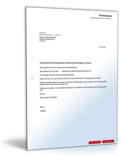 Kündigung Schreiben Muster Verein Fristlose K 252 Ndigung Handelsvertreter Muster Zum