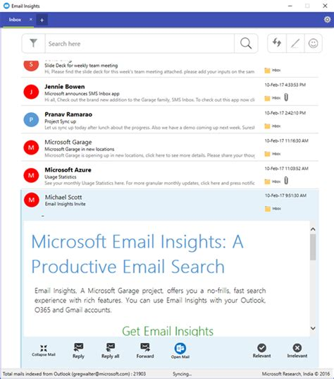 Microsoft Outlook Email Search Beta Email Insights Creating A Better Search Client