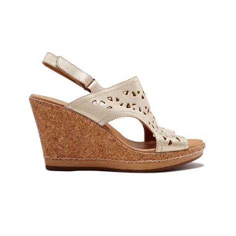 Sandal Platform Wedges Slop Gold lyst clarks pitch mint platform wedge sandals in