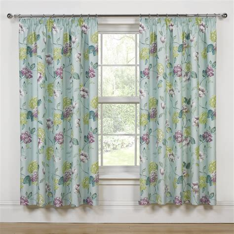 floral duck egg curtains evelyn duckegg floral printed luxury thermal pencil pleat