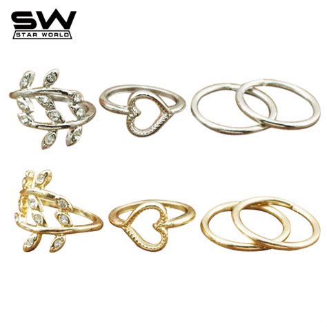new 4pcs set fashion brand leaf gold plated midi mid band