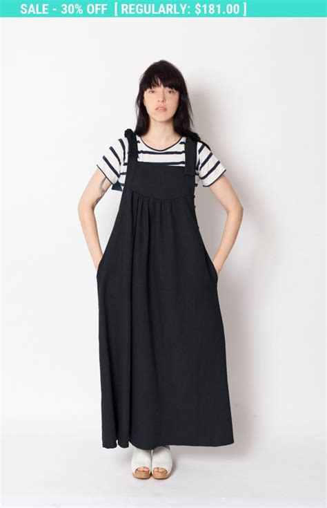Overal Maxi Denim Dress Wanita Nando Overall sale overall dress pinapore apron dress denim maxi by odeliaarnold