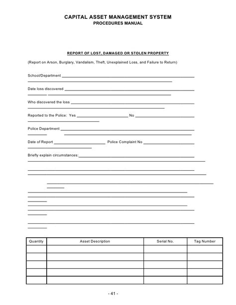 damaged stock report template inventory manual and inventory forms