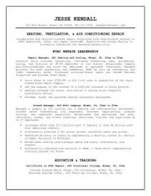 Sample Resume Objectives For Hvac by Free Hvac Repair Manager Resume Example
