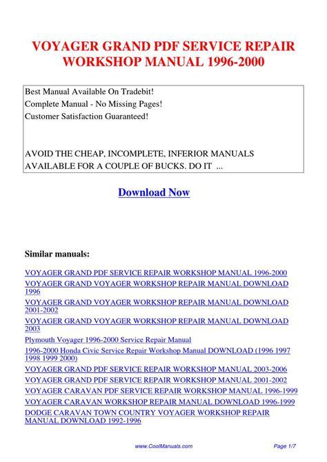 car repair manuals online pdf 1992 plymouth voyager regenerative braking voyager grand service repair workshop manual 1996 2000 by kai kaik issuu