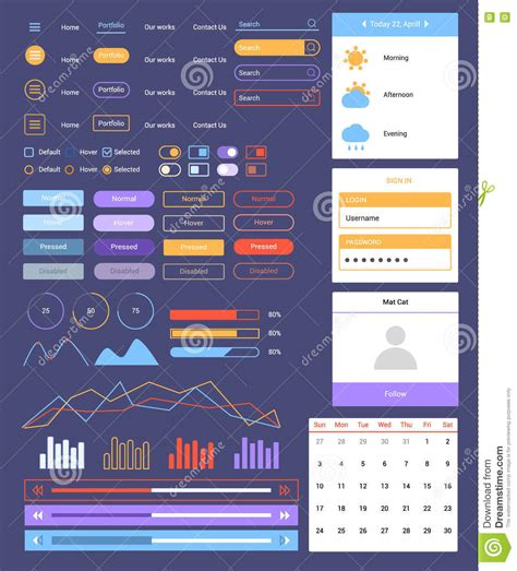 layout form elements flat ui web and mobile kit stock vector image of media