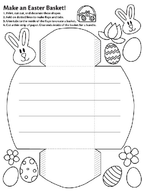 easter baskets templates make an easter basket coloring page crayola