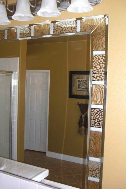 Etched Bathroom Mirrors Animal Print Border Decorative Mirror With Etched Carved Design Bathroom Other Metro By