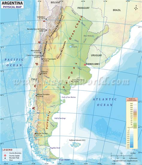 argentina physical map physical map of argentina