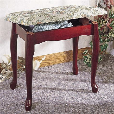 storage stools and benches foot stools cherry finish upholstered vanity stool bench