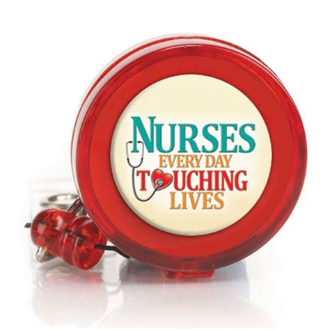 nurses  day touching lives retractable badge holder positive promotions