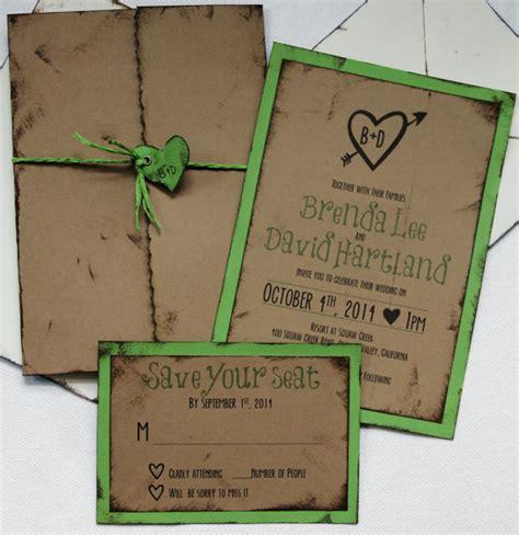 Handmade Rustic Wedding Invitations - handmade wedding invitation rustic outdoor invite rsvp