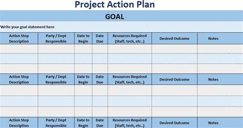 3 Free Project Action Plan Template Xls Free Excel Spreadsheets And Templates New Project Plan Template