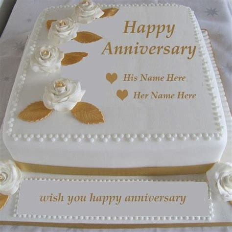 Wedding Anniversary Wishes Card With Name Edit by Happy Anniversary Cake With Name Editor