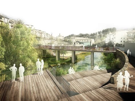 Landscape Architecture Perspective River Walk With Recreational Areas In Arb 218 Cies Architect
