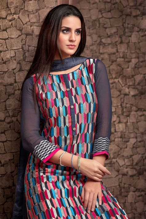 boat neck net churidar grey multicoloured georgette salwar suit with boat neck