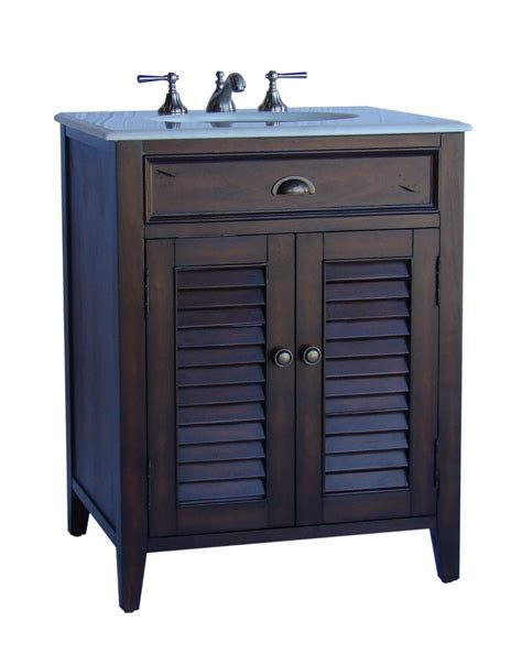 26 Bathroom Vanities Adelina 26 Inch Cottage Brown Finish Bathroom Vanity White Marble Counter Top